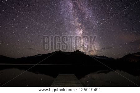 Milky way over lake and dock in the mountains