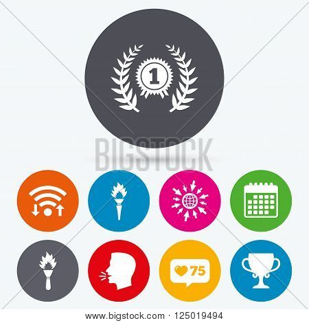 Wifi, like counter and calendar icons. First place award cup icons. Laurel wreath sign. Torch fire flame symbol. Prize for winner. Human talk, go to web.