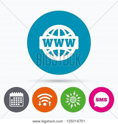 Wifi, Sms and calendar icons. WWW sign icon. World wide web symbol. Globe. Go to web globe.