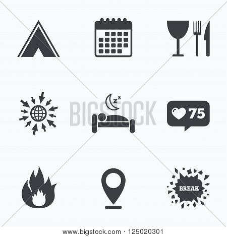 Calendar, like counter and go to web icons. Food, sleep, camping tent and fire icons. Knife, fork and wineglass. Hotel or bed and breakfast. Road signs. Location pointer.