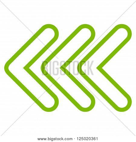 Triple Pointer Left vector icon. Style is outline icon symbol, eco green color, white background.