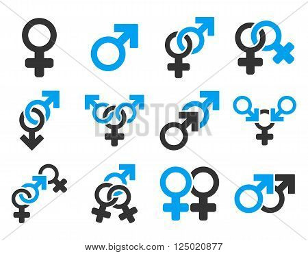 Sexual Relation Symbols vector icon set. Style is bicolor blue and gray flat symbols isolated on a white background.