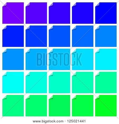 Set of colorful blank flat labels with folded corners. Folded corners. Vector illustration set.