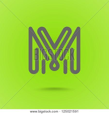M Letter. M Line Logo Design Element Type. Letter L on Green Background