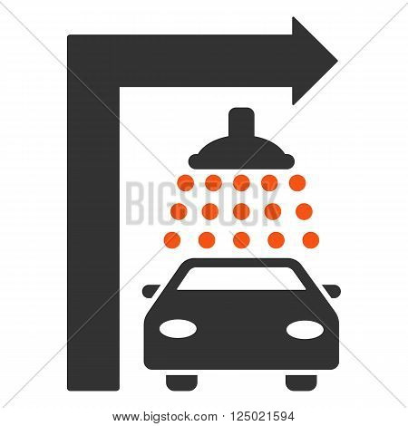 Carwash Turn Right vector illustration for street advertisement. Style is bicolor orange and gray flat symbols on a white background.