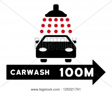 Carwash Right Direction vector illustration for street advertisement. Style is bicolor intensive red and black flat symbols on a white background.