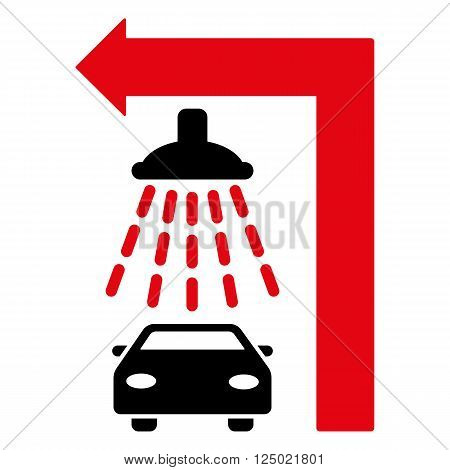 Carwash Turn Left vector illustration for street advertisement. Style is bicolor intensive red and black flat symbols on a white background.