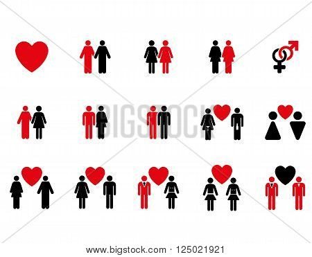 Love Pairs vector icon set. Style is bicolor intensive red and black flat symbols isolated on a white background.