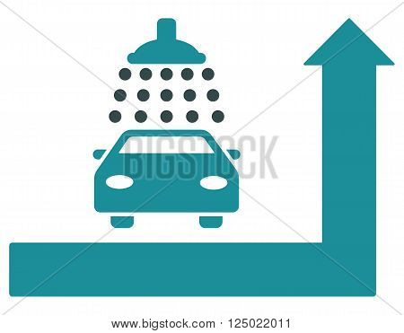 Carwash Turn Ahead vector illustration for street advertisement. Style is bicolor soft blue flat symbols on a white background.