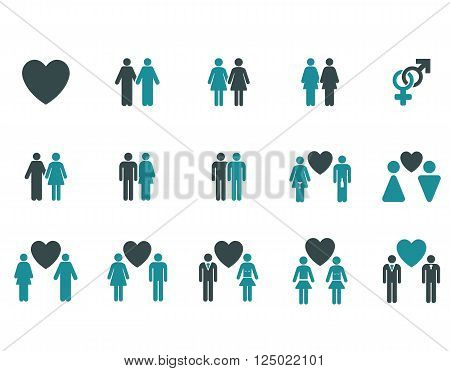 Love Pairs vector icon set. Style is bicolor soft blue flat symbols isolated on a white background.