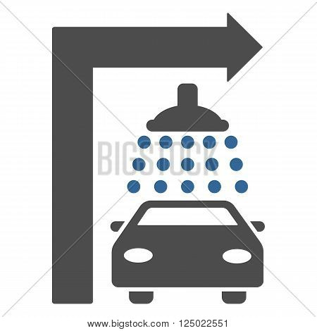 Carwash Turn Right vector illustration for street advertisement. Style is bicolor cobalt and gray flat symbols on a white background.