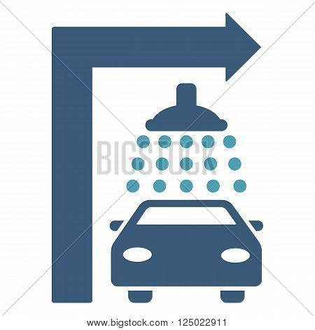 Carwash Turn Right vector illustration for street advertisement. Style is bicolor cyan and blue flat symbols on a white background.
