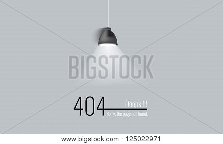 404 connection error. Abstract background with lamp, light, ray and wire. Sorry, page not found. vector.