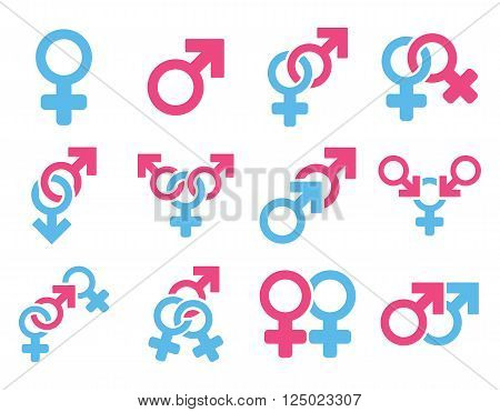 Sexual Relation Symbols vector icon set. Style is bicolor pink and blue flat symbols isolated on a white background.