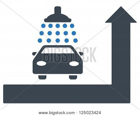 Carwash Turn Ahead vector illustration for street advertisement. Style is bicolor smooth blue flat symbols on a white background.