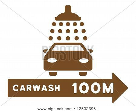 Carwash Right Direction vector illustration for street advertisement. Style is brown flat symbols on a white background.