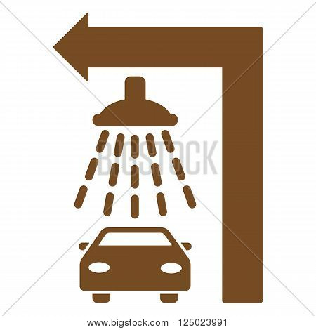 Carwash Turn Left vector illustration for street advertisement. Style is brown flat symbols on a white background.