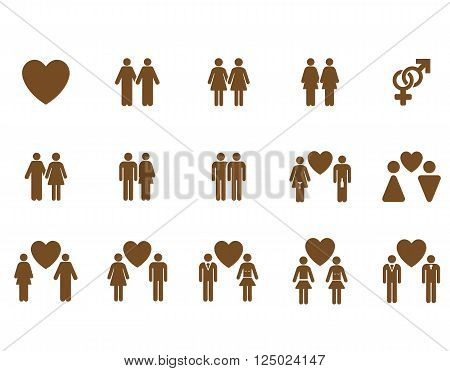 Love Pairs vector icon set. Style is brown flat symbols isolated on a white background.