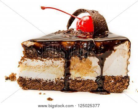 Birthday dark chocolate cake close up dessert