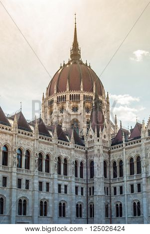 Hungarian Parliament in Budapest. Neogothic building, architectural details.