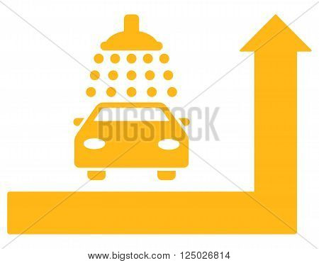 Carwash Turn Ahead vector illustration for street advertisement. Style is yellow flat symbols on a white background.