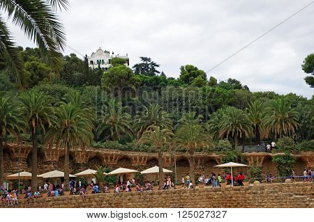 BARCELONA, SPAIN - JULY 31, 2015: View of the famous architectural landmark Park Guell in Barcelona, designed by renowned architect Antoni Gaudi and built between 1900 and 1914