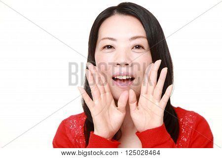 portrait of Japanese woman shout something on white background