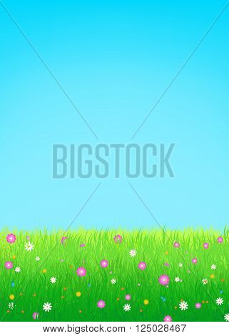 Summer spring vector illustration featuring lush meadow with colorful flowers and clear blue sky. Great for greeting cards web banners summer sale advertising backgrounds and promotional leaflets