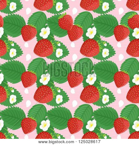 Seamless pattern design with strawberries leaves and flowers. Strawberry vector seamless pattern print