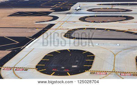 Jet plane taxiing for take off at a major international airport