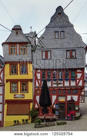 street with half-timbered houses in Limburg old town Germany