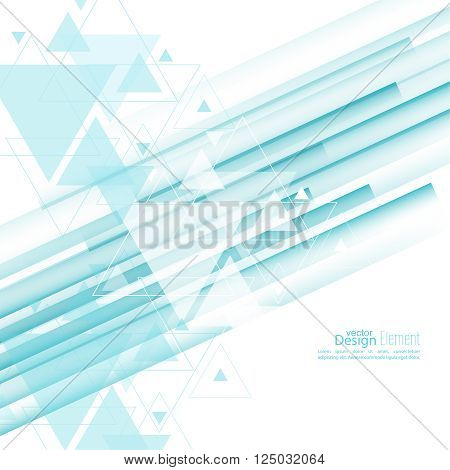 Abstract background with blue stripes, stream flying triangles debris. Concept new technology and dynamic motion. Digital Data Visualization.