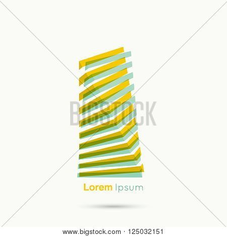 3d logo in  form of  abstract geometric rectangular figures. Stairs from the strips. Low poly