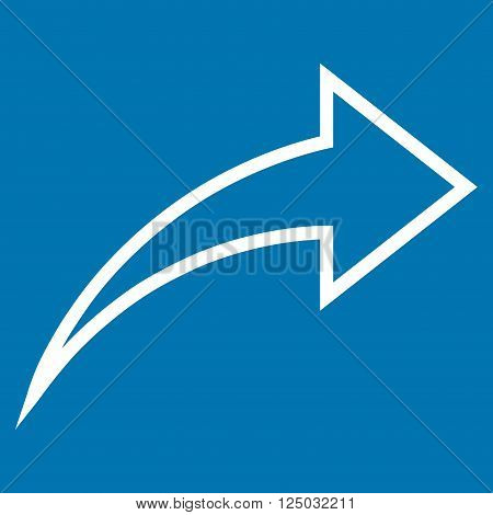 Redo vector icon. Style is outline icon symbol, white color, blue background.
