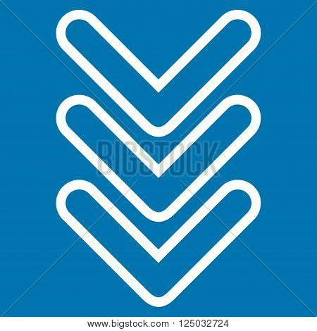 Triple Pointer Down vector icon. Style is contour icon symbol, white color, blue background.