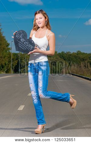 Girl In Expectation Of A Vehicle, Hitchhiking