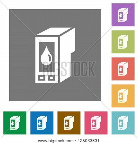 Ink cartridge flat icon set on color square background.