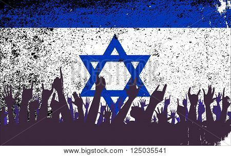 Audience happy reaction with the Israel flag background