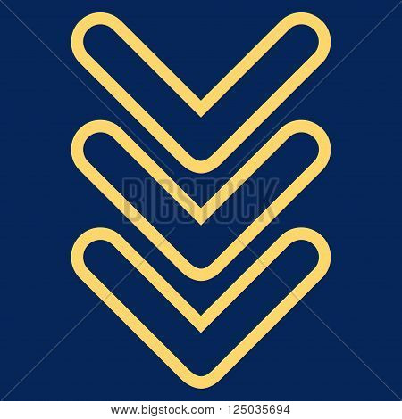 Triple Pointer Down vector icon. Style is thin line icon symbol, yellow color, blue background.