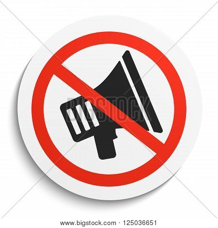 Turn Off Sound Prohibition Sign on White Round Plate. No Sound forbidden symbol. No Sound Vector Illustration on white background