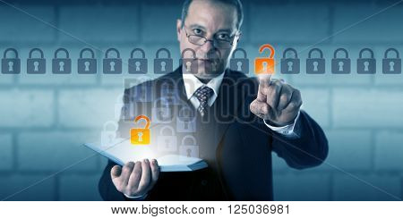 Business man unlocking a data packet in an information stream. The unlocked icon does correspond to a highlighted padlock emanating from a book. Concept for authentication and protecting passwords.