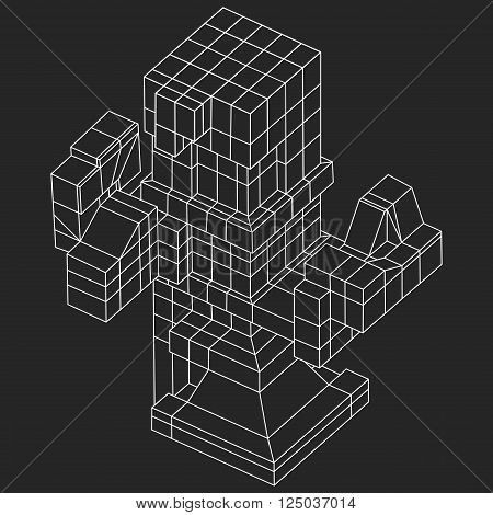 Wireframe Mesh Cubes element. Connected lines. Connection Wireframe Structure. Digital Data Visualization Concept. Vector Illustration.