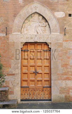SIENA, ITALY - MARCH 12, 2016: the courtyard of the Palazzo Chigi-Saracini - Siena