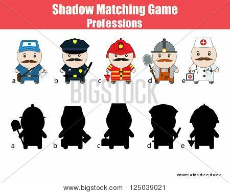 Match the shadow children game. Profession set cartoon style figures