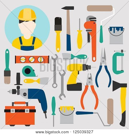 Color tools for repair and home improvement. Vector illustration.