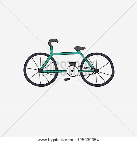 Hand drawn green bike. Vector carton illustration.