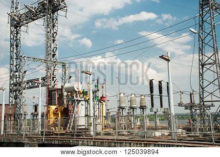 Transformer substation Kanev hydroelectric power plant Ukraine