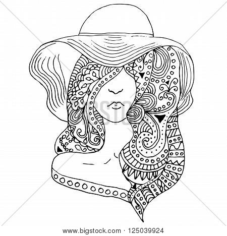 young pretty girl with doodle hairs wearing hat. Fashion illustration. Uncolored vector image can be used as adult coloring book, coloring page, invitation, greeting card.