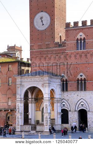 SIENA ITALY - MARCH 12, 2016: Campo Square with Public Building Siena Italy