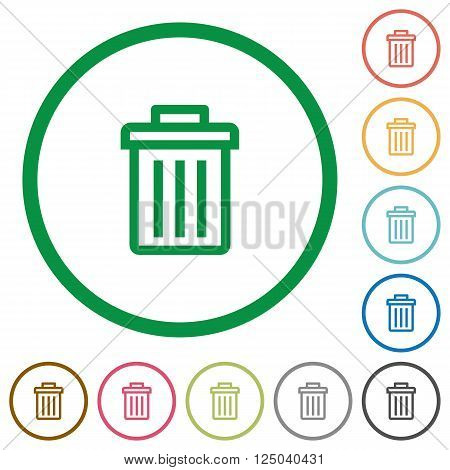Set of delete color round outlined flat icons on white background